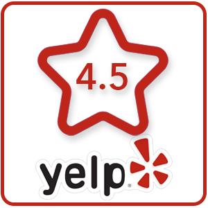 4.5 Stars on Yelp